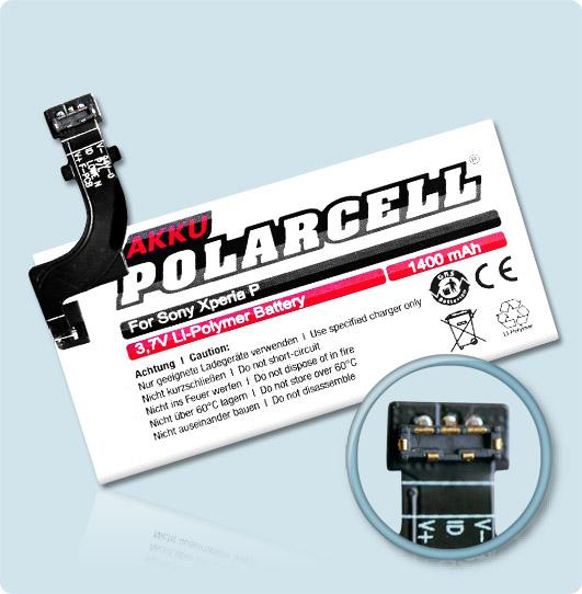 PolarCell® Hochleistungsakku für Sony Xperia P, ersetzt Originalakku AGPB009-A001