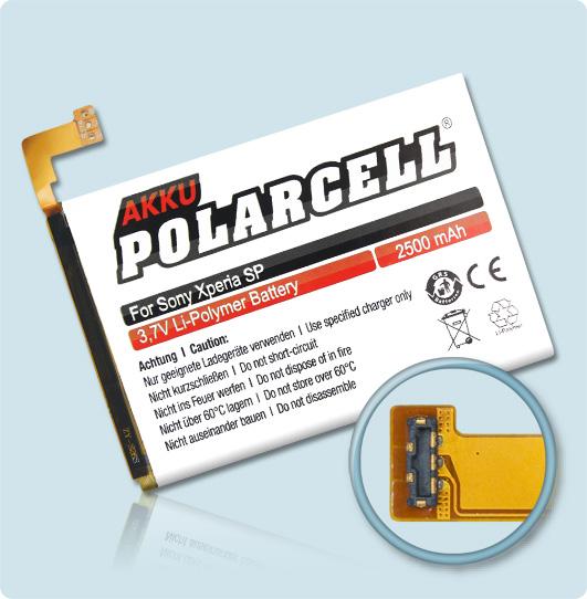 PolarCell® Hochleistungsakku für Sony Xperia SP, ersetzt Originalakku LIS1509ERPC