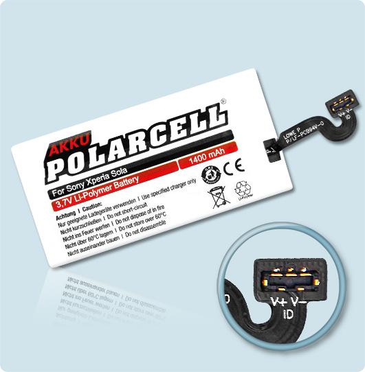 PolarCell® Hochleistungsakku für Sony Xperia Sola, ersetzt Originalakku AGPB009-A002