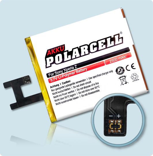 PolarCell® Hochleistungsakku für Sony Xperia Z, ersetzt Originalakku LIS1502ERPC