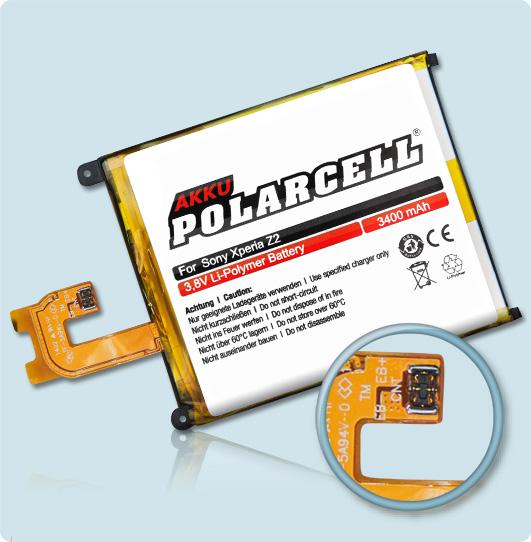 PolarCell® Hochleistungsakku für Sony Xperia Z2, ersetzt Originalakku LIS1543ERPC
