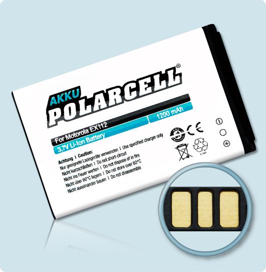 PolarCell® Hochleistungsakku für Motorola EX112, ersetzt Originalakku OM5B