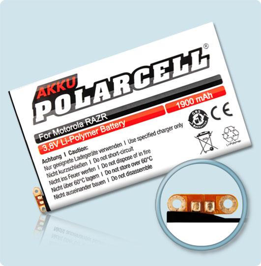 PolarCell® Hochleistungsakku für Motorola XT910, ersetzt Originalakku EB20