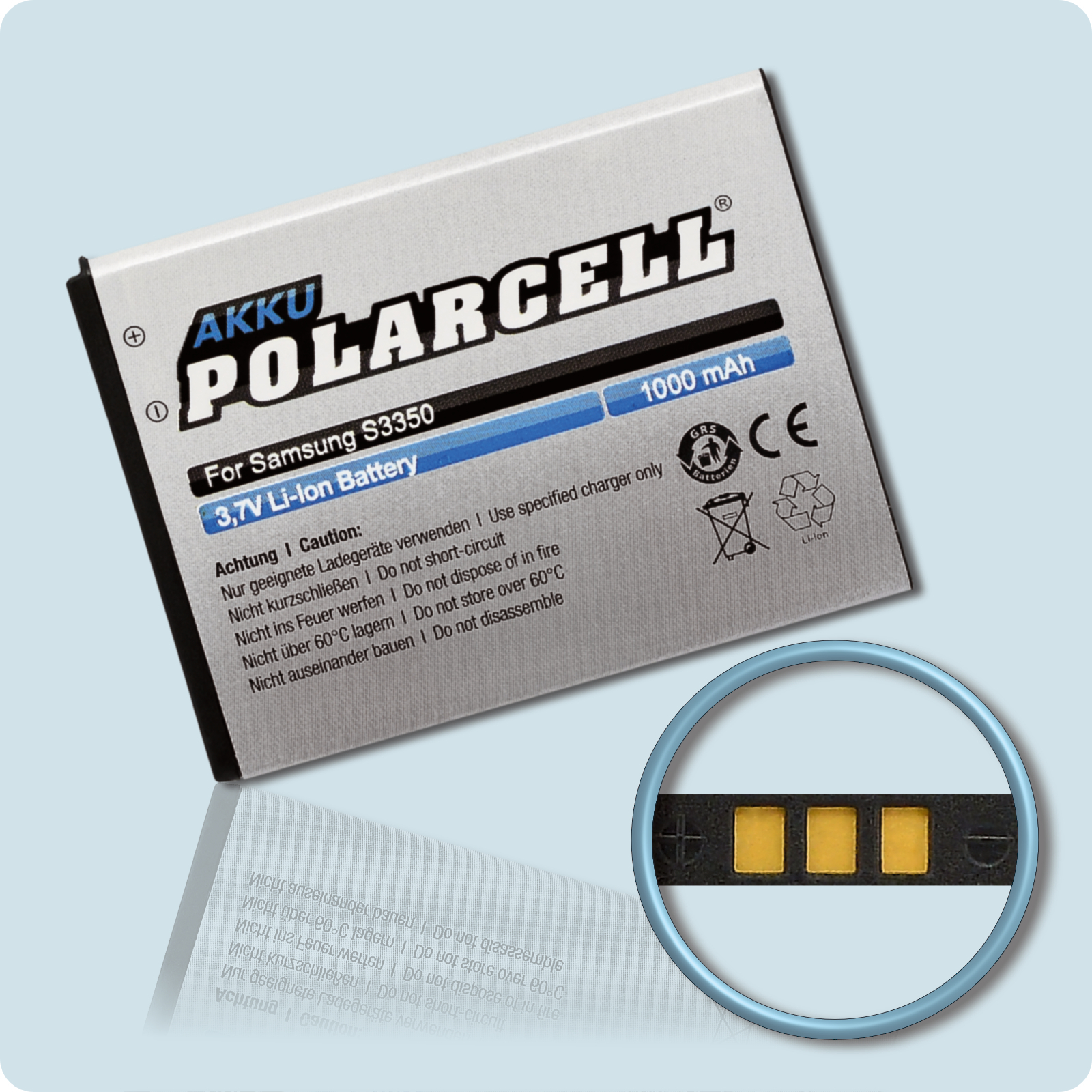 PolarCell® Hochleistungsakku für Samsung S5220, ersetzt Originalakku EB424255VU - VA