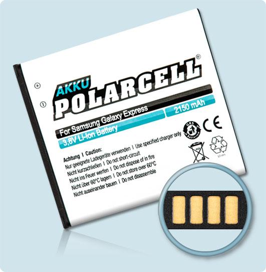 PolarCell® Hochleistungsakku für Samsung i8730 (inkl. NFC-Antenne), ersetzt Originalakku EB-L1H9KLA
