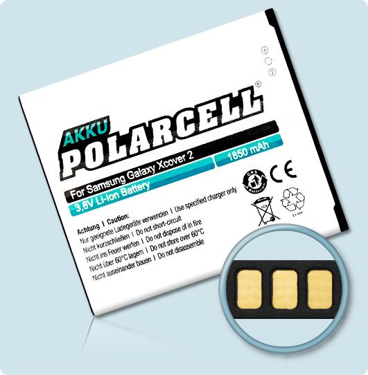 PolarCell® Hochleistungsakku für Samsung S7710, ersetzt Originalakku EB485159LU