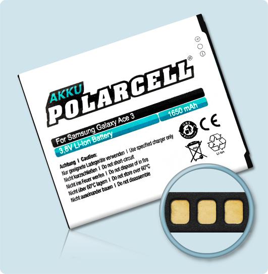 PolarCell® Hochleistungsakku für Samsung S7390, ersetzt Originalakku EB-B100AE