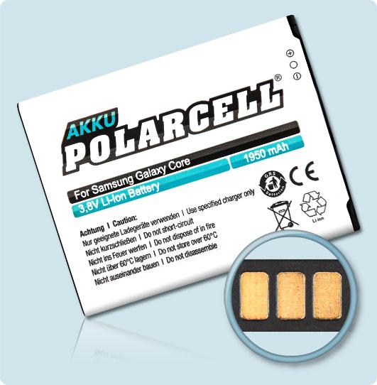 PolarCell® Hochleistungsakku für Samsung Galaxy Core DuoS GT-i8262, ersetzt Originalakku EB-B150AC