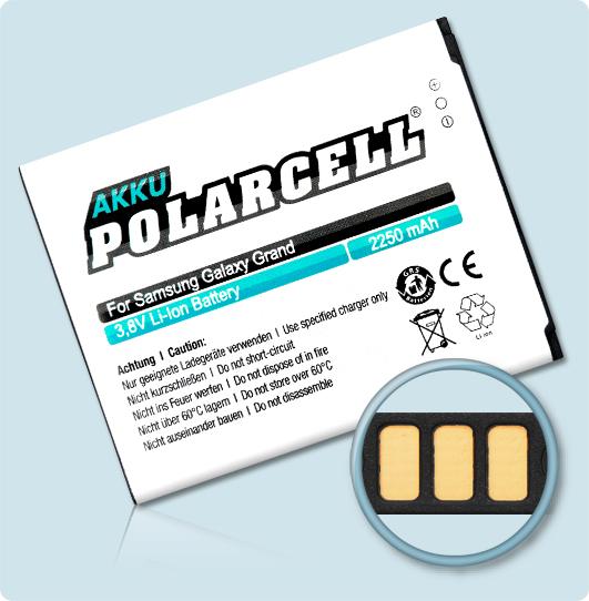 PolarCell® Hochleistungsakku für Samsung Galaxy Grand DuoS GT-i9082, ersetzt Originalakku  EB535163LU - LA