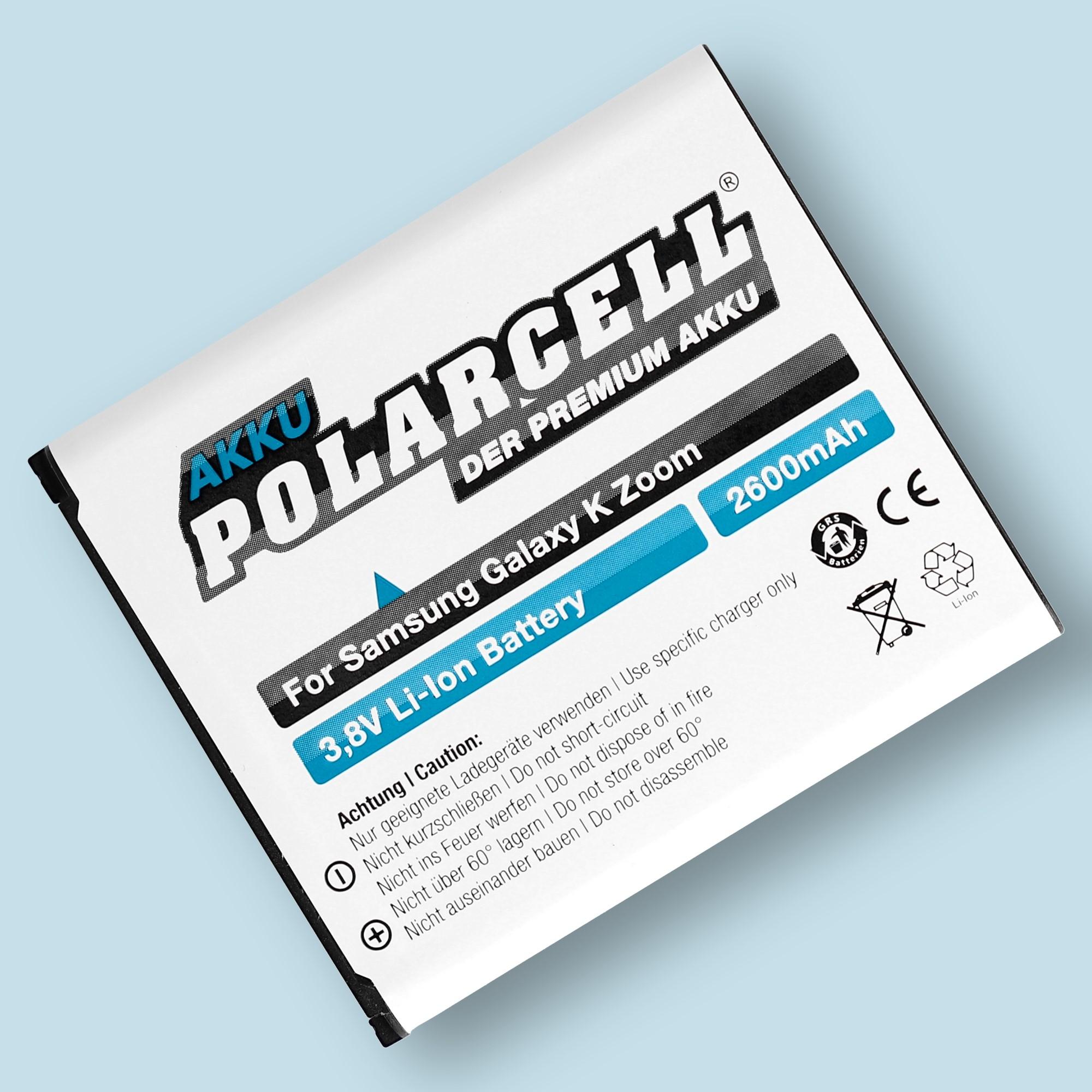PolarCell® Hochleistungsakku für Samsung Galaxy S5 Zoom, ersetzt Originalakku EB-BC115BBC