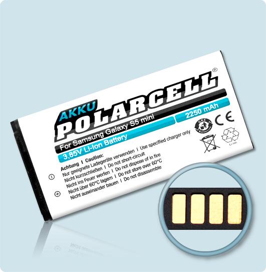 PolarCell® Hochleistungsakku für Samsung Galaxy S5 mini SM-G800F, ersetzt Originalakku EB-BG800BBE