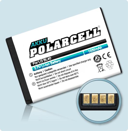 PolarCell® Hochleistungsakku für LG New Chocolate BL40, ersetzt Originalakku LGIP-520N