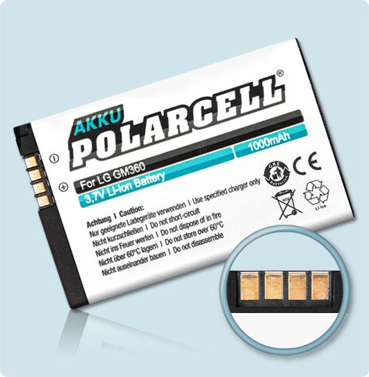 PolarCell® Hochleistungsakku für LG A133, ersetzt Originalakku LGIP-430N