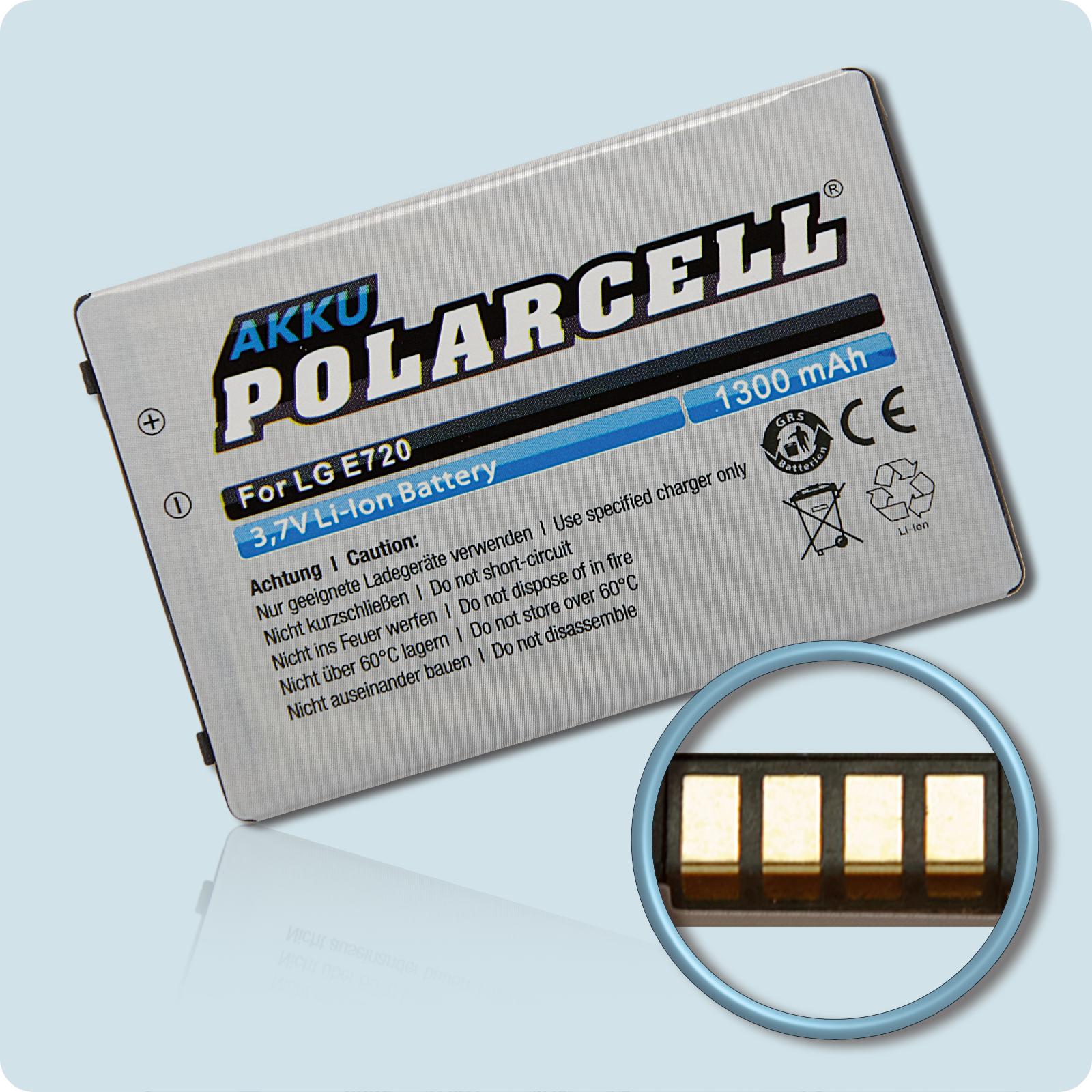 PolarCell® Hochleistungsakku für LG Optimus Chic E720, ersetzt Originalakku LGIP-401N