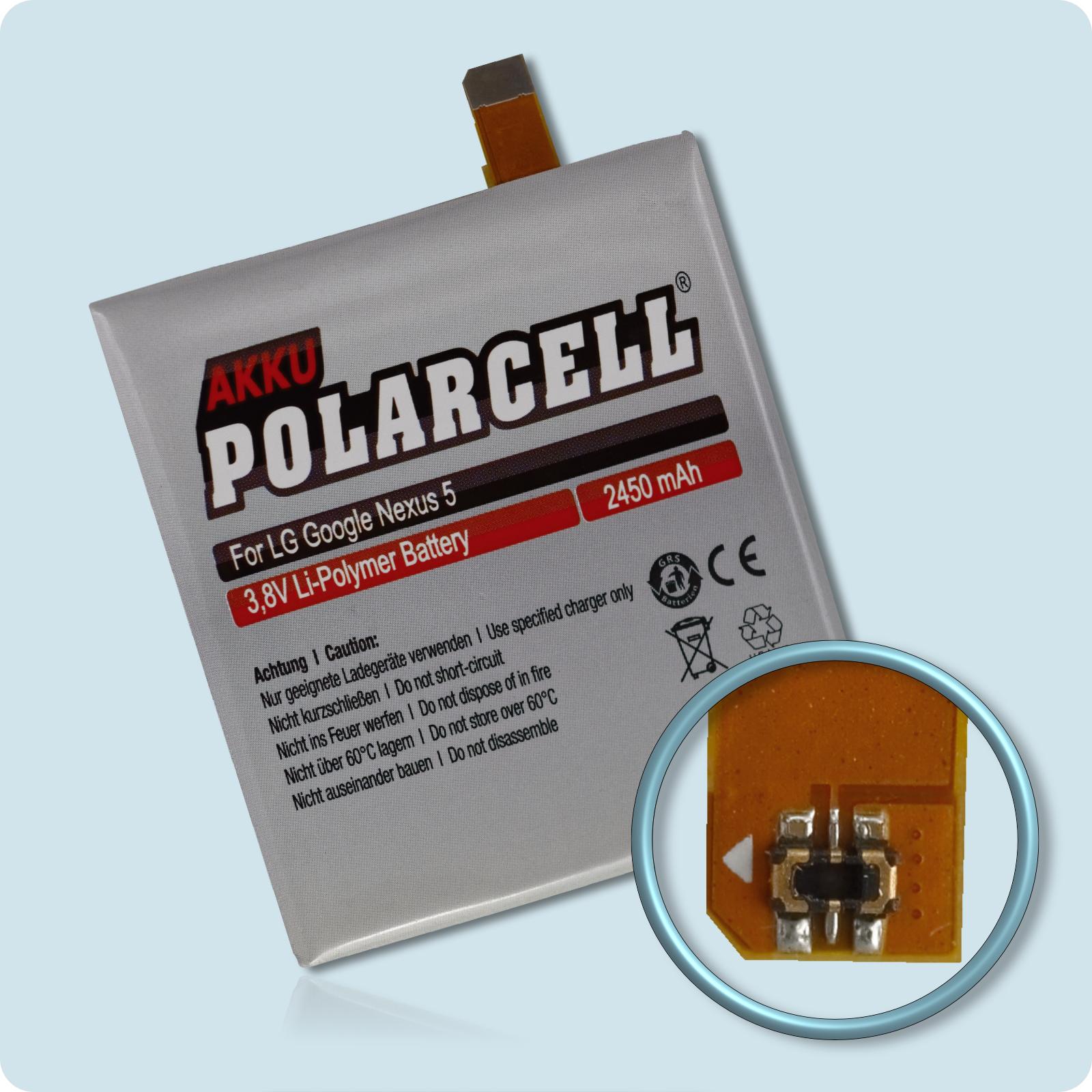 PolarCell® Hochleistungsakku für LG Google Nexus 5 - D821, ersetzt Originalakku BL-T9