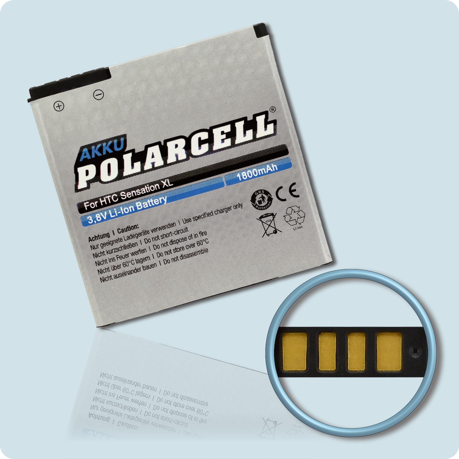 PolarCell® Hochleistungsakku für HTC Sensation XL, ersetzt Originalakku BA-S640, BI39100