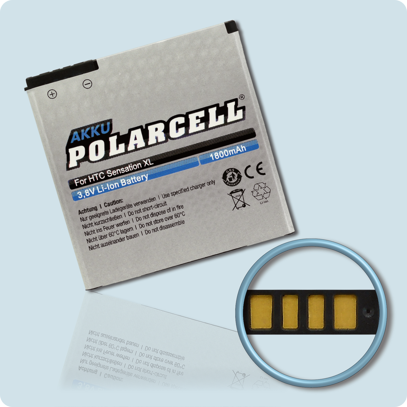 PolarCell® Hochleistungsakku für HTC X310e, ersetzt Originalakku BA-S640, BI39100