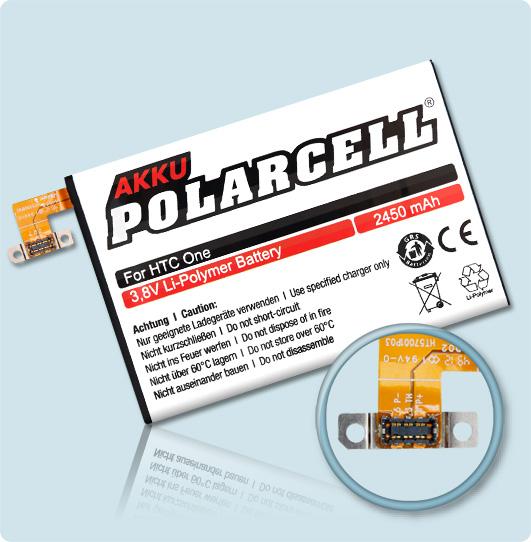 PolarCell® Hochleistungsakku für HTC One M7, ersetzt Originalakku BN07100