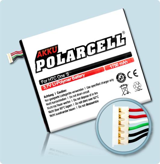 PolarCell® Hochleistungsakku für HTC One S, ersetzt Originalakku BJ40100