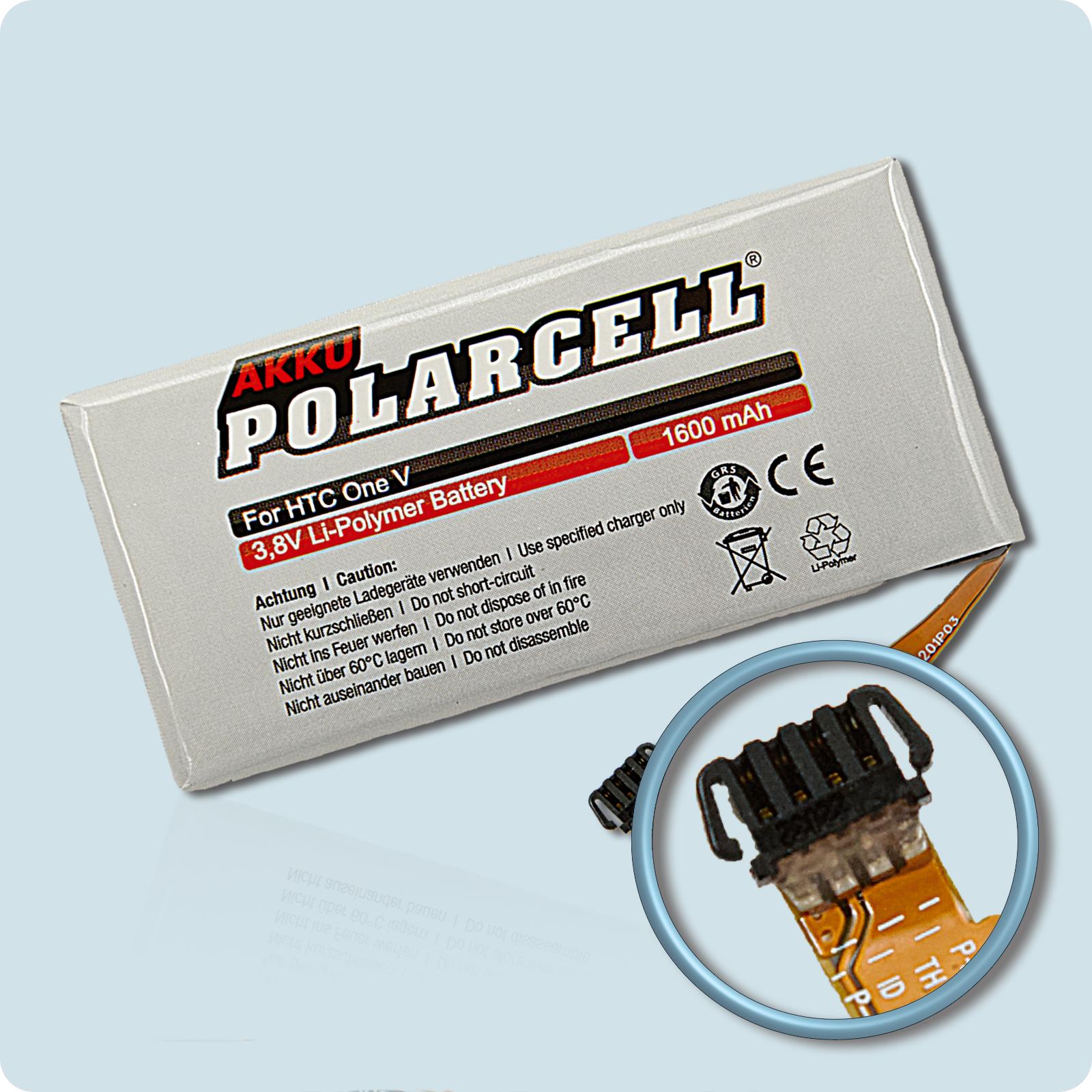 PolarCell® Hochleistungsakku für HTC One V, ersetzt Originalakku BK76100