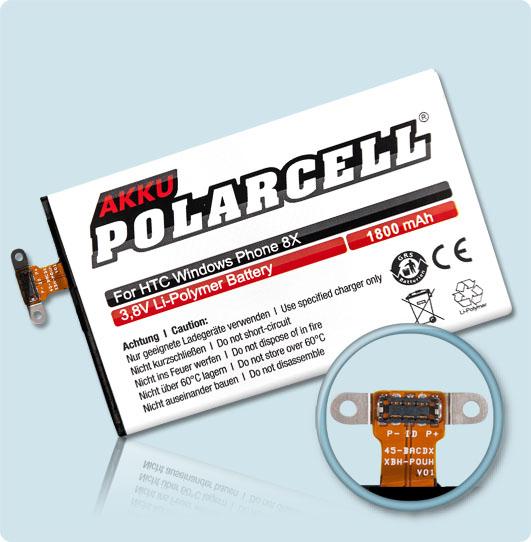 PolarCell® Hochleistungsakku für HTC Windows Phone 8X, ersetzt Originalakku BM23100