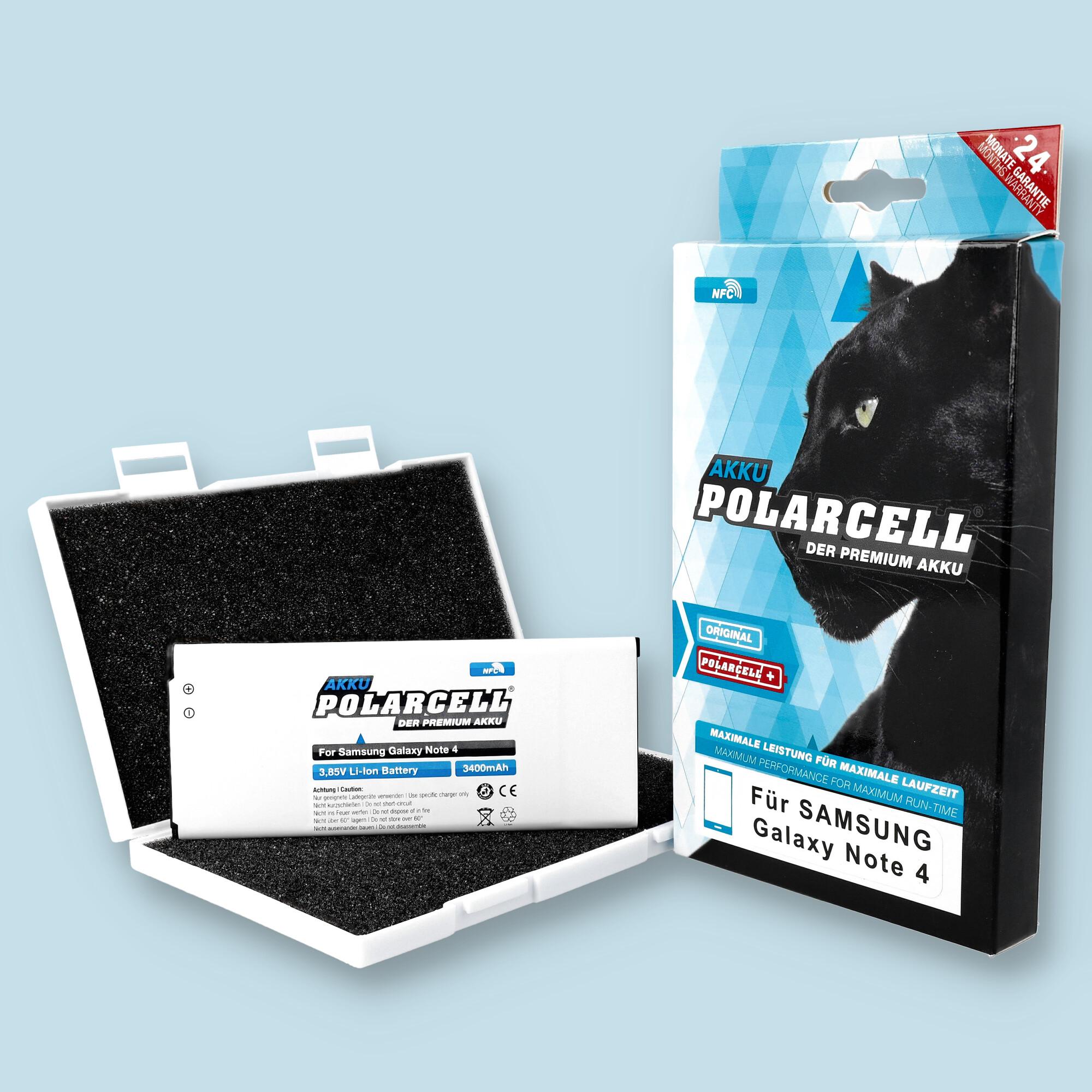PolarCell® Hochleistungsakku für Samsung Galaxy Galaxy Note 4 SM-N910F mit NFC-Antenne, ersetzt Originalakku EB-BN910BBE - EB-BN910BBC - EB-BN910BBK