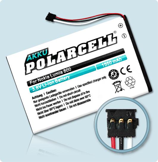 PolarCell® Hochleistungsakku für Nokia Lumia N9, ersetzt Originalakku  BV-5JW