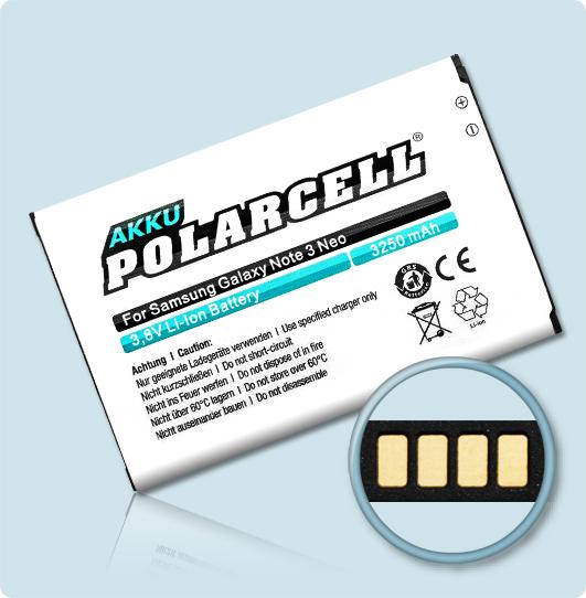 PolarCell® Hochleistungsakku für Samsung Galaxy Note 3 Neo DuoS SM-N7502, ersetzt Originalakku EB-BN750BBE