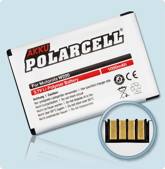PolarCell® Hochleistungsakku für Motorola W205, ersetzt Originalakku BT50 - BQ50