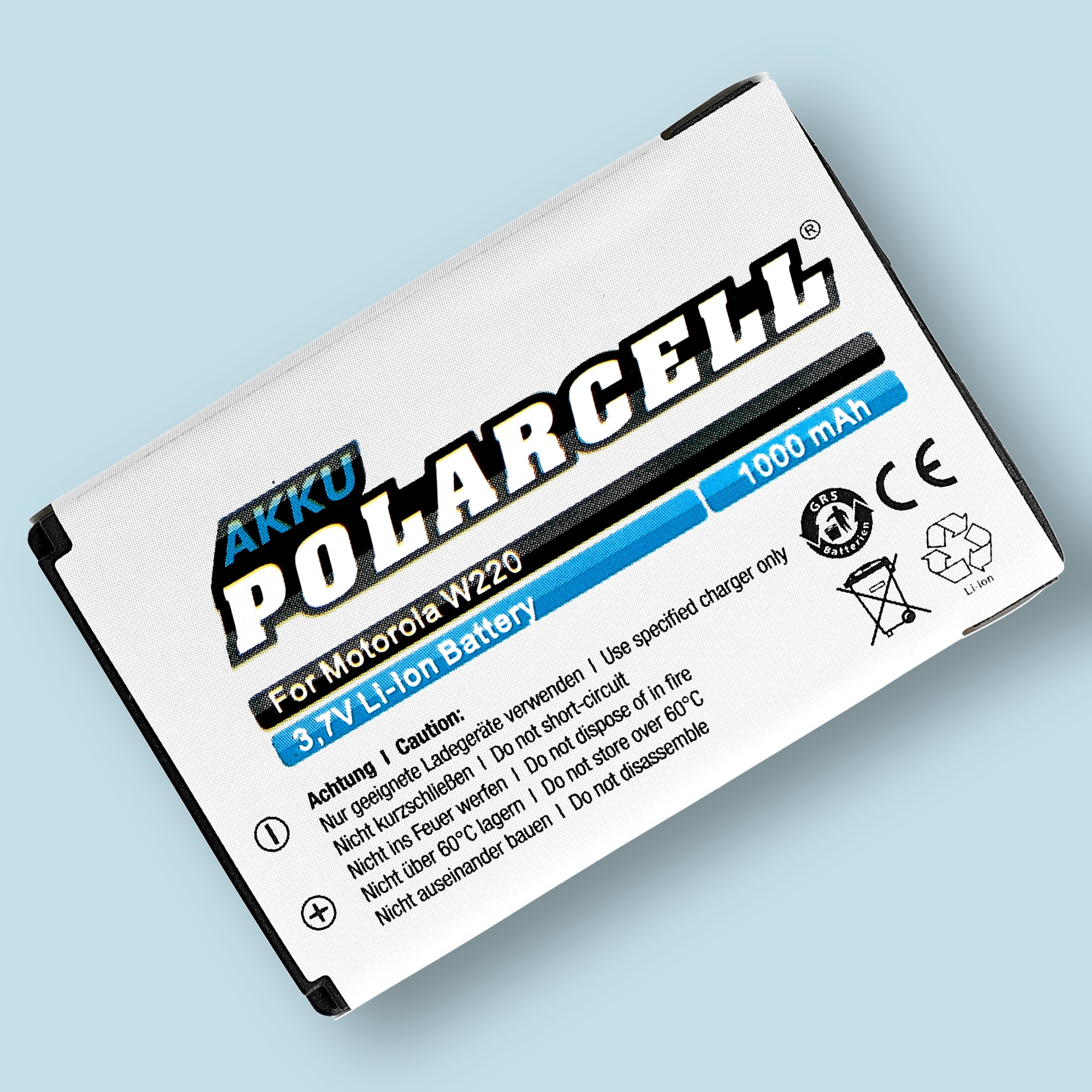 PolarCell® Hochleistungsakku für Motorola W230, ersetzt Originalakku BT50 - BQ50