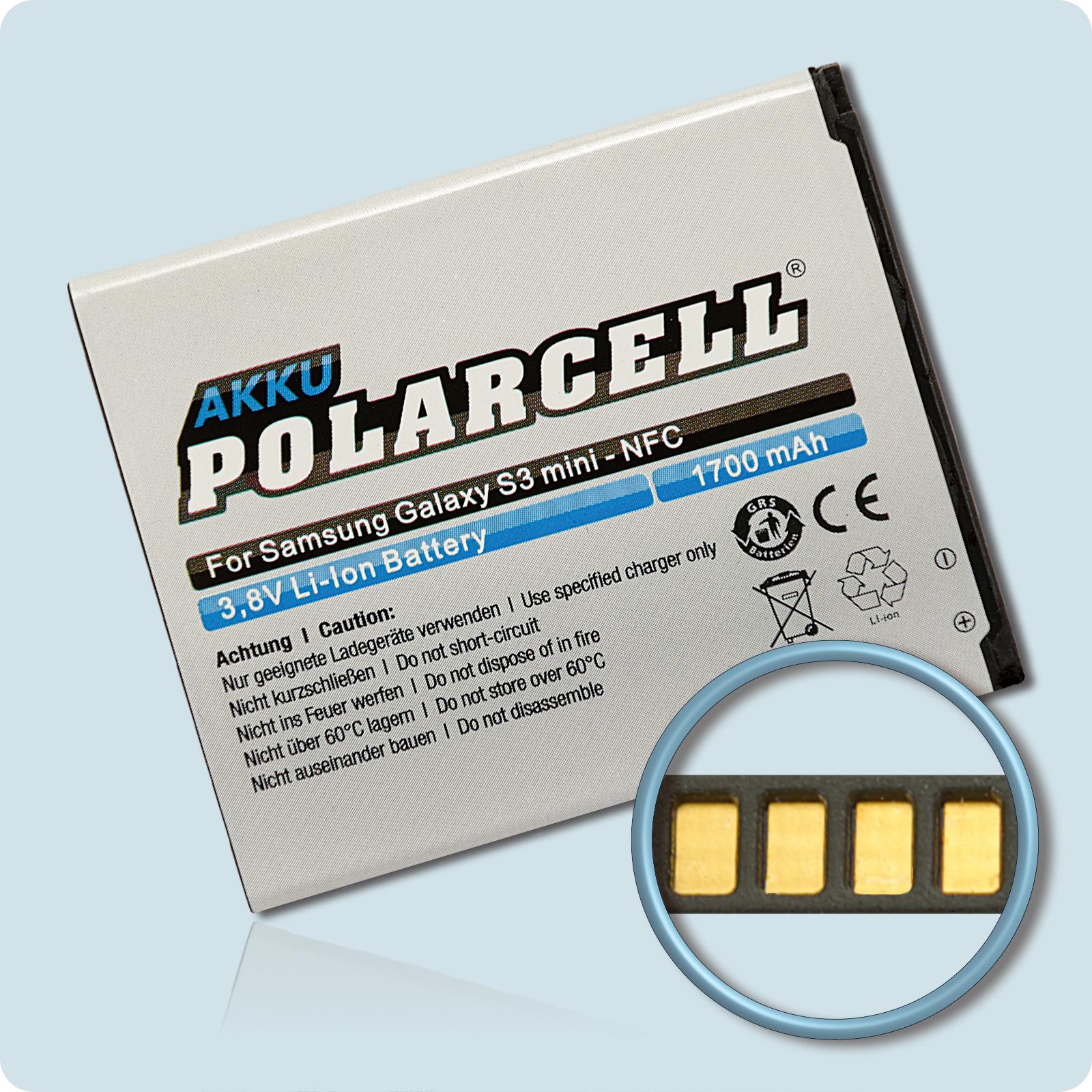 PolarCell® Hochleistungsakku für Samsung Galaxy Ace 2i mit NFC-Antenne GT-i8160P, ersetzt Originalakku EB-L1M7FLU