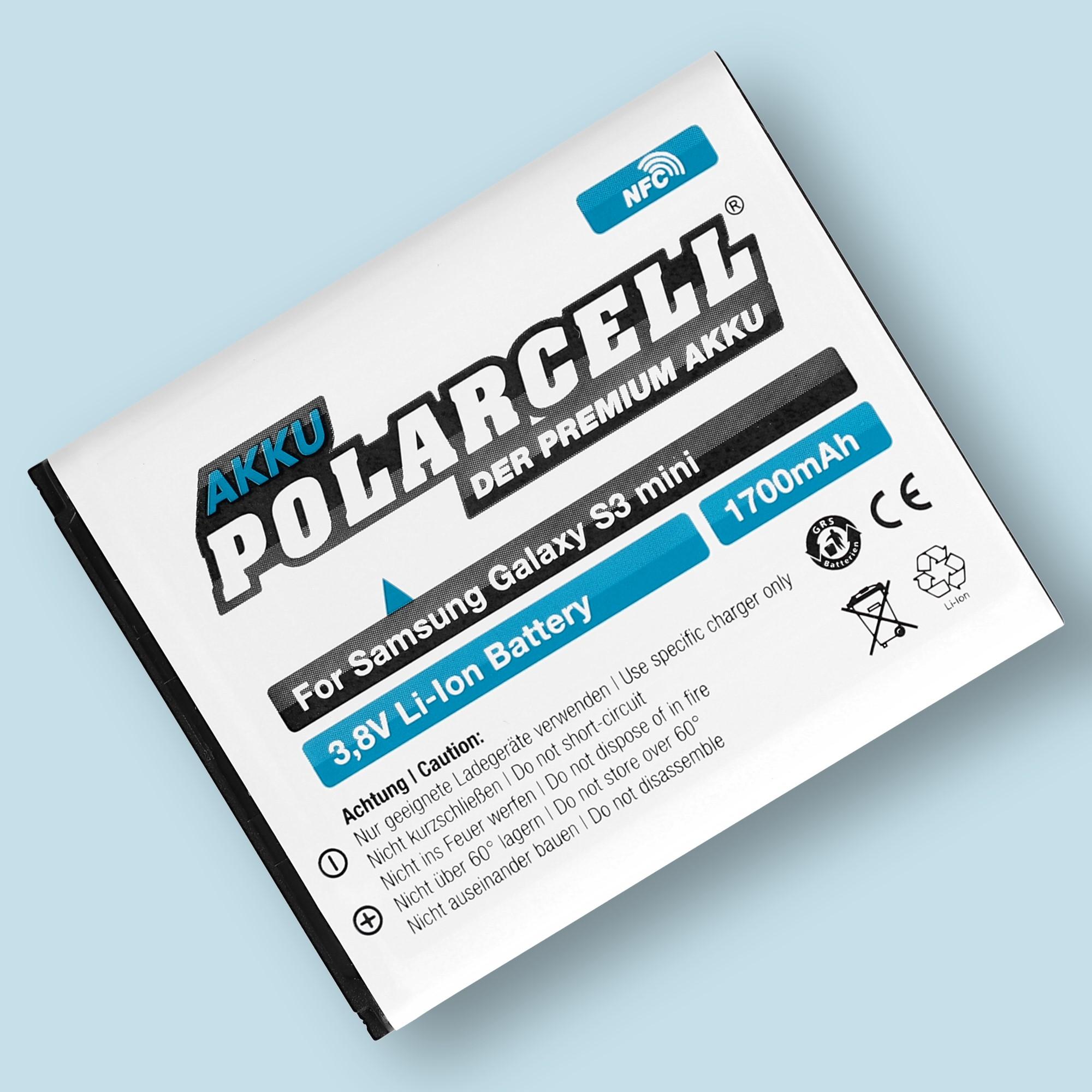 PolarCell® Hochleistungsakku für Samsung Galaxy S3 mini mit NFC-Antenne GT-i8190N, ersetzt Originalakku EB-L1M7FLU
