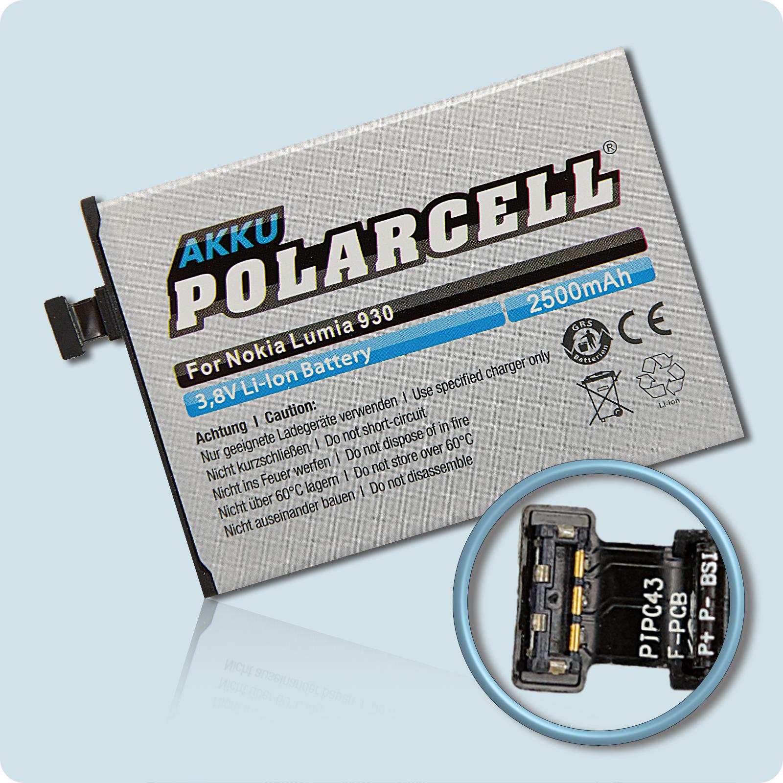 PolarCell® Hochleistungsakku für Nokia Lumia 930, ersetzt Originalakku  BV-5QW