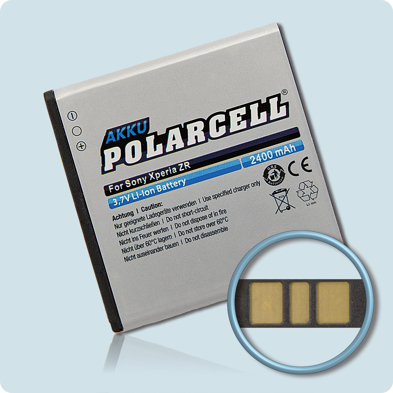 PolarCell® Hochleistungsakku für Sony Xperia ZR, ersetzt Originalakku BA950