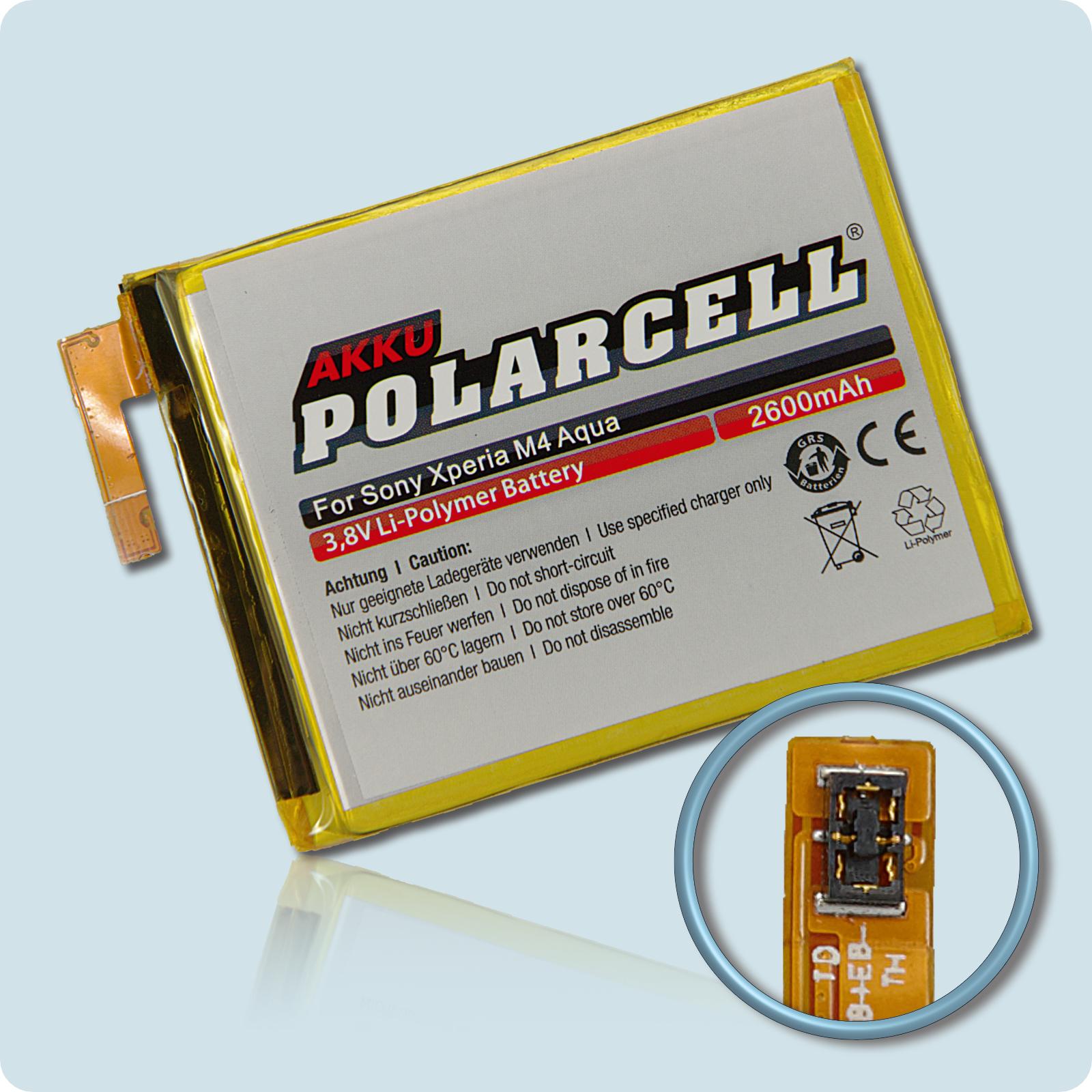 PolarCell® Hochleistungsakku für Sony Xperia M4 Aqua, ersetzt Originalakku LIS1576ERPC