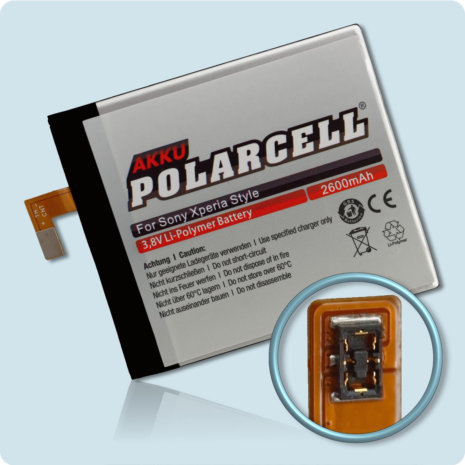 PolarCell® Hochleistungsakku für Sony Xperia Style T3, ersetzt Originalakku LIS1546ERPC