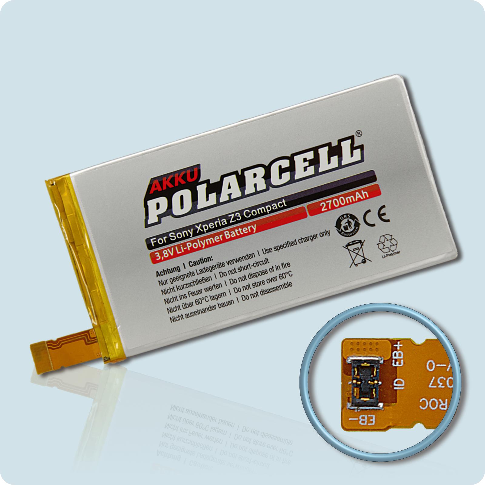 PolarCell® Hochleistungsakku für Sony Xperia Z3 Compact, ersetzt Originalakku LIS1561ERPC