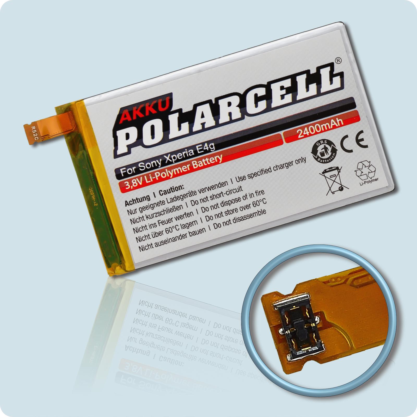 PolarCell® Hochleistungsakku für Sony Xperia E4, ersetzt Originalakku LIS1574ERPC