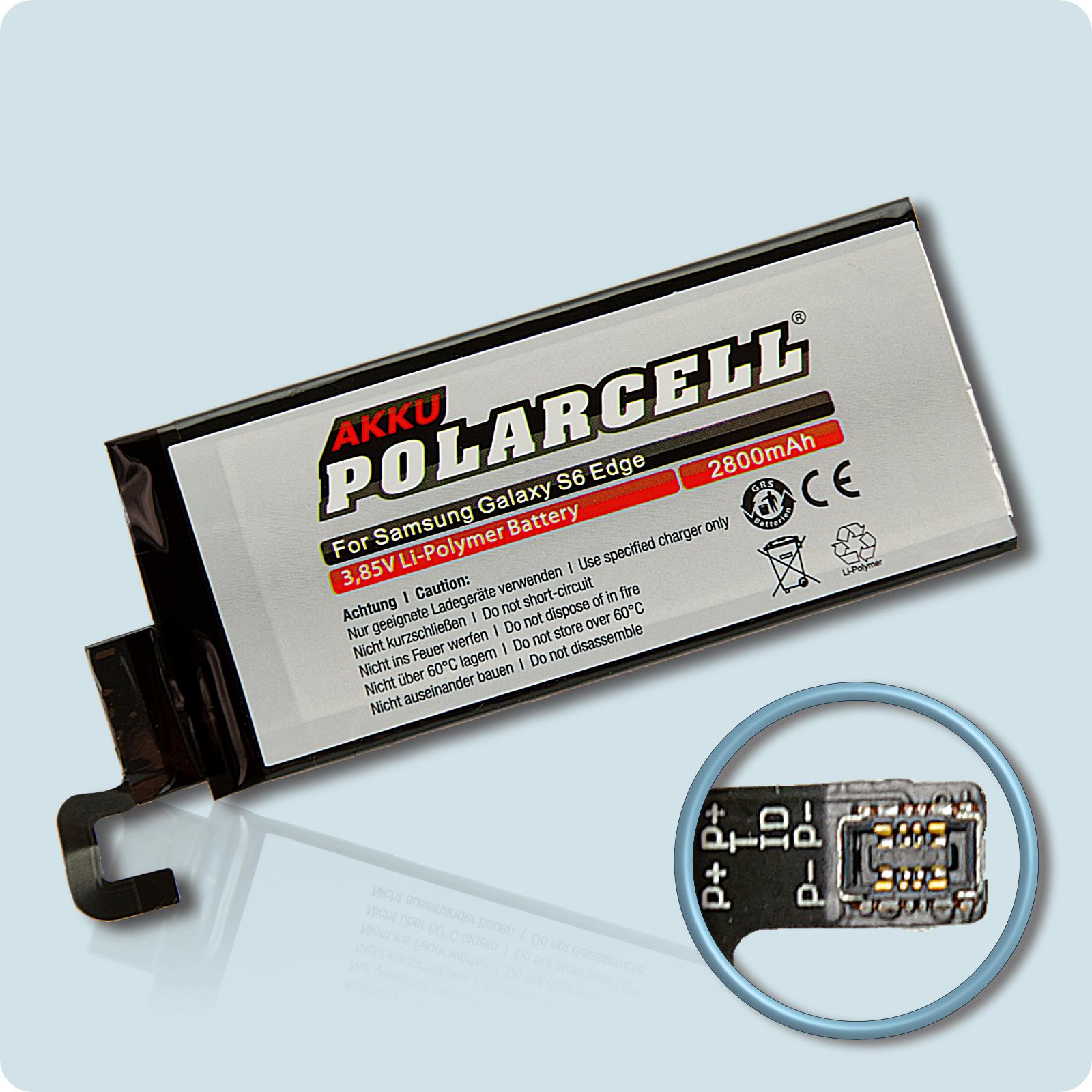 PolarCell® Hochleistungsakku für Samsung Galaxy S6 Edge SM-G925F, ersetzt Originalakku EB-BG925ABE