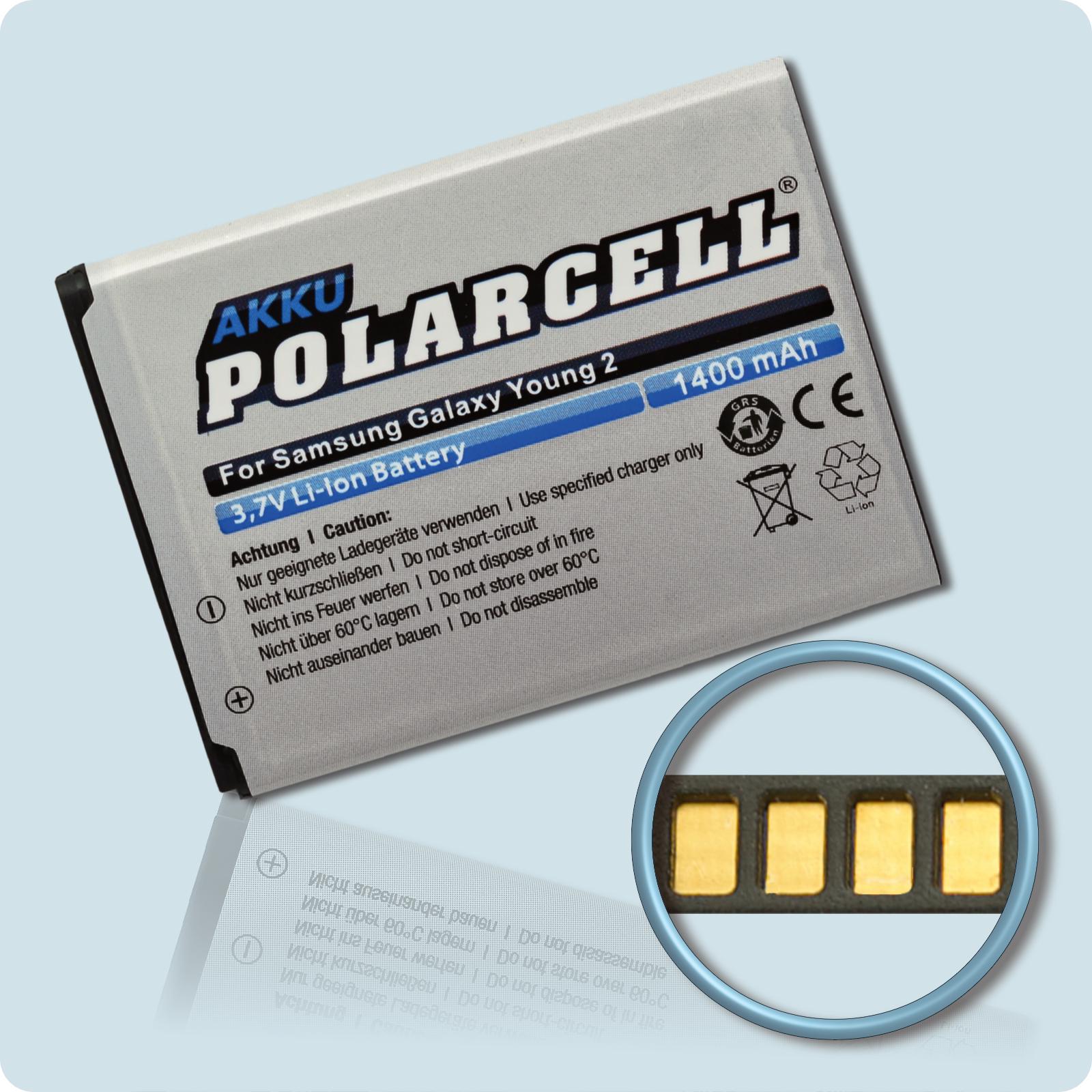 PolarCell® Hochleistungsakku für Samsung Galaxy Young 2 SM-G130HN, ersetzt Originalakku EB-BG130ABE