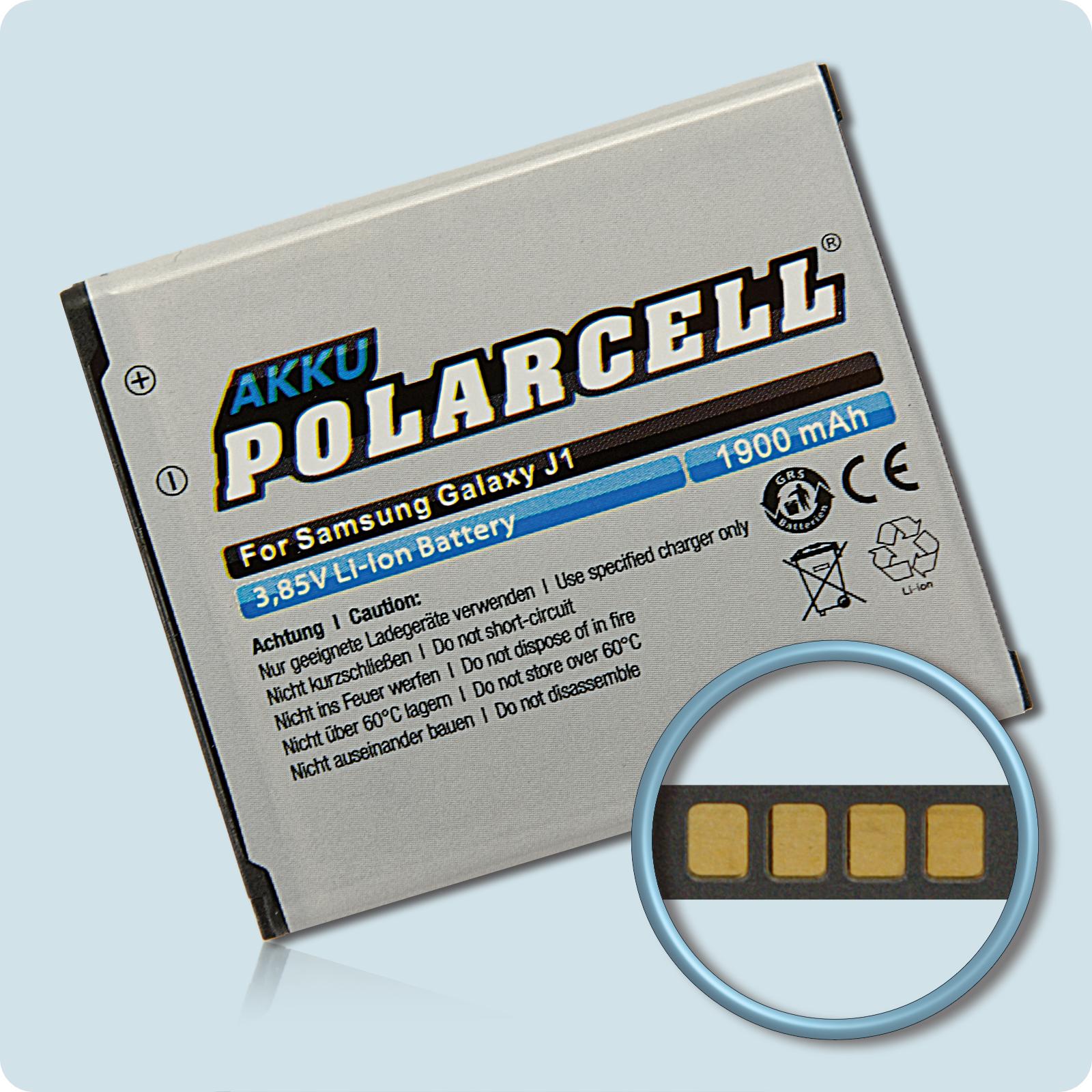 PolarCell® Hochleistungsakku für Samsung Galaxy J1 SM-J100H, ersetzt Originalakku EB-BJ100CBE