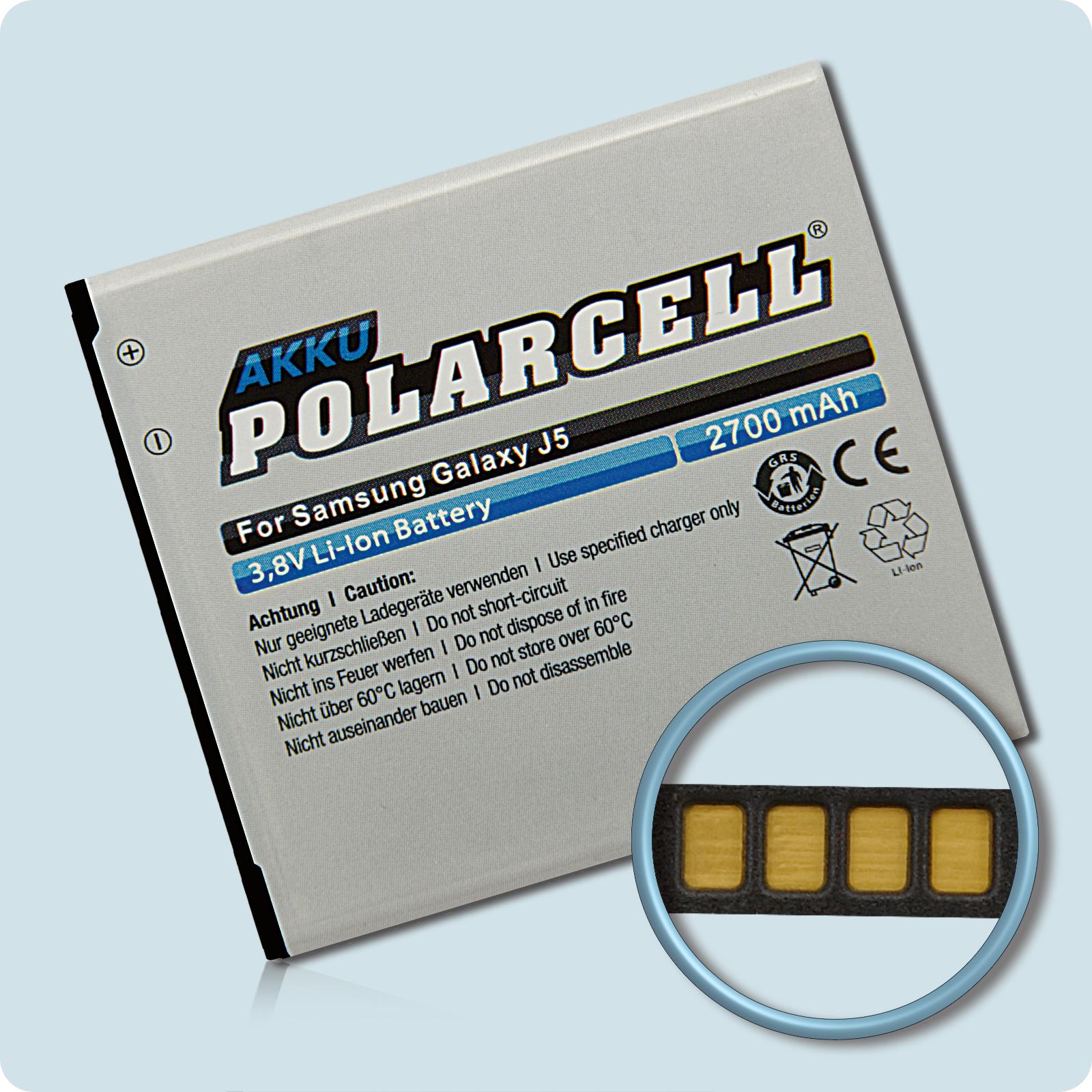 PolarCell® Hochleistungsakku für Samsung Galaxy J5 SM-J500F mit NFC-Antenne, ersetzt Originalakku EB-BG530BBE