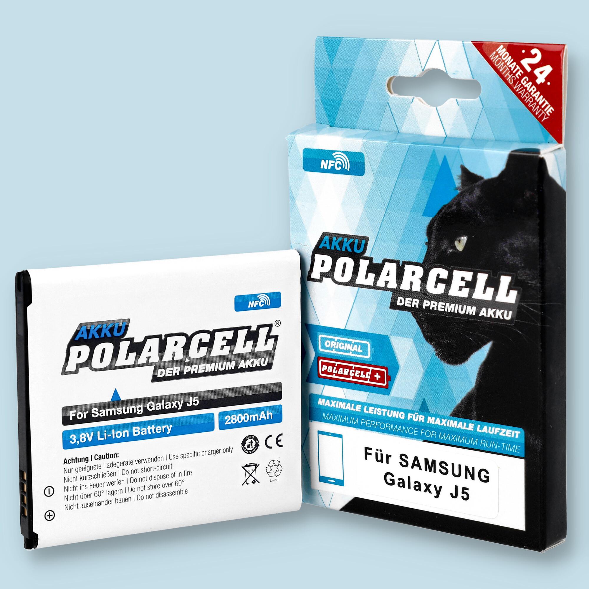 PolarCell® Hochleistungsakku für Samsung Galaxy J5 SM-J500FN mit NFC-Antenne, ersetzt Originalakku EB-BG530BBU
