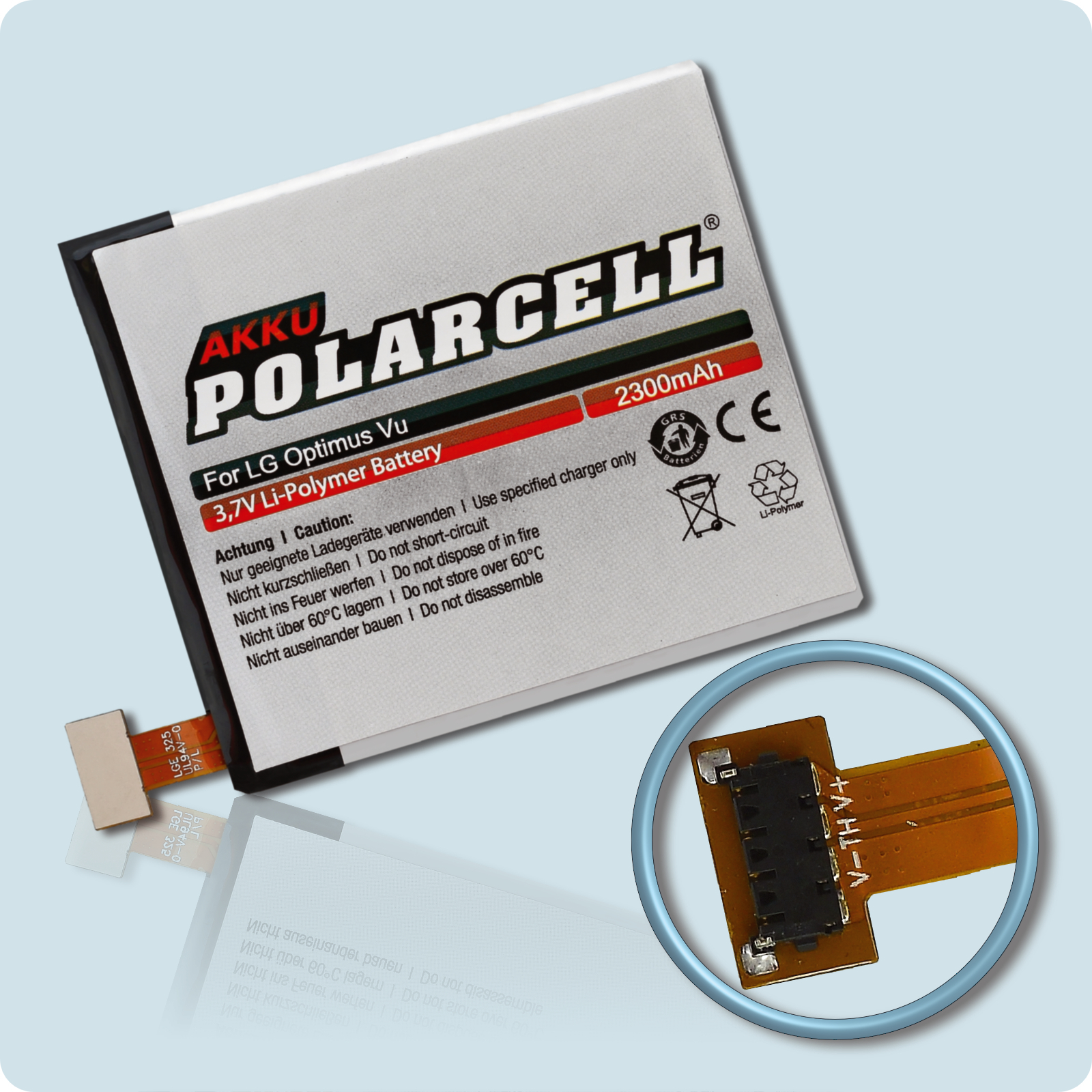PolarCell® Hochleistungsakku für LG Optimus Vu P895, ersetzt Originalakku BL-T3