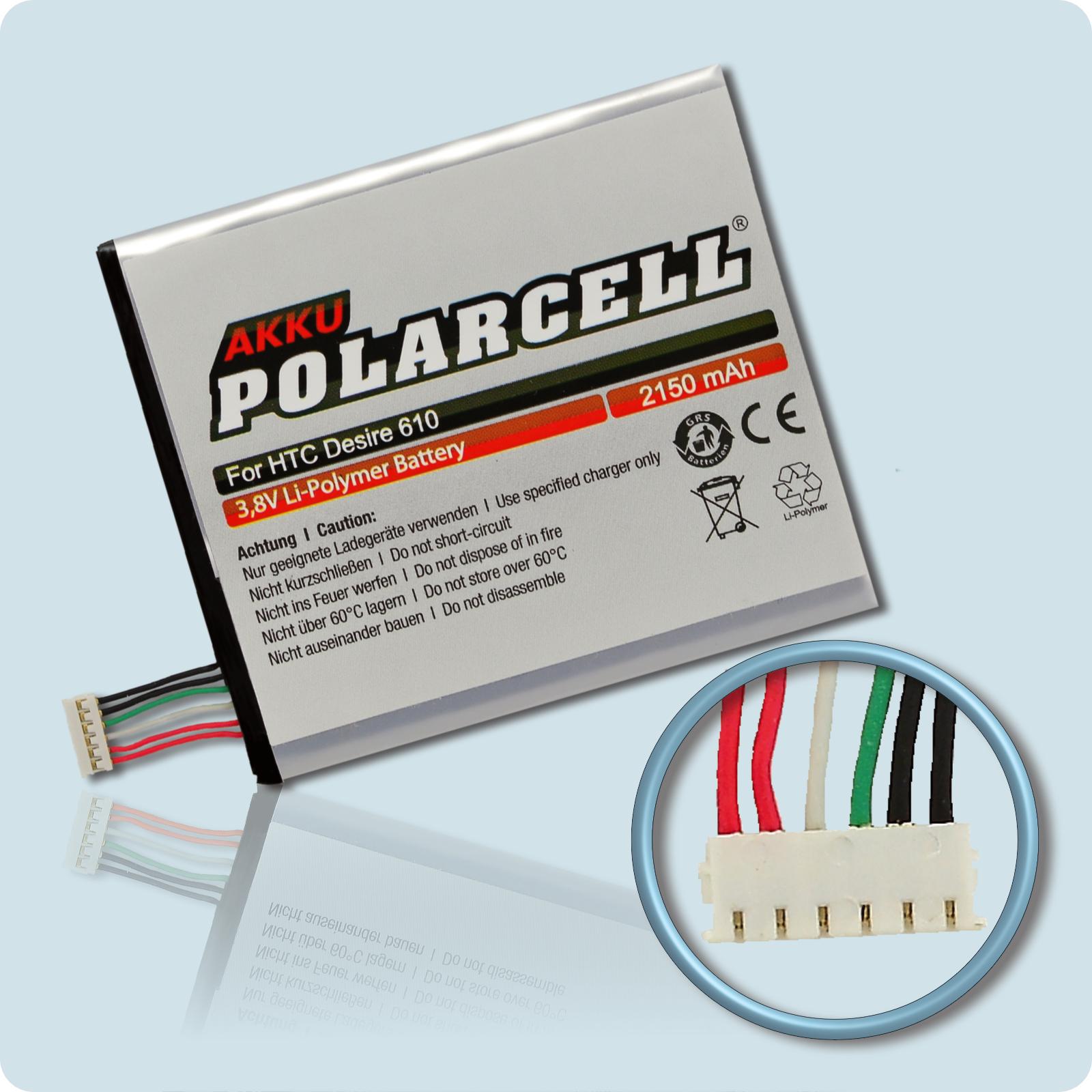 PolarCell® Hochleistungsakku für HTC Desire 610, ersetzt Originalakku B0P9O100