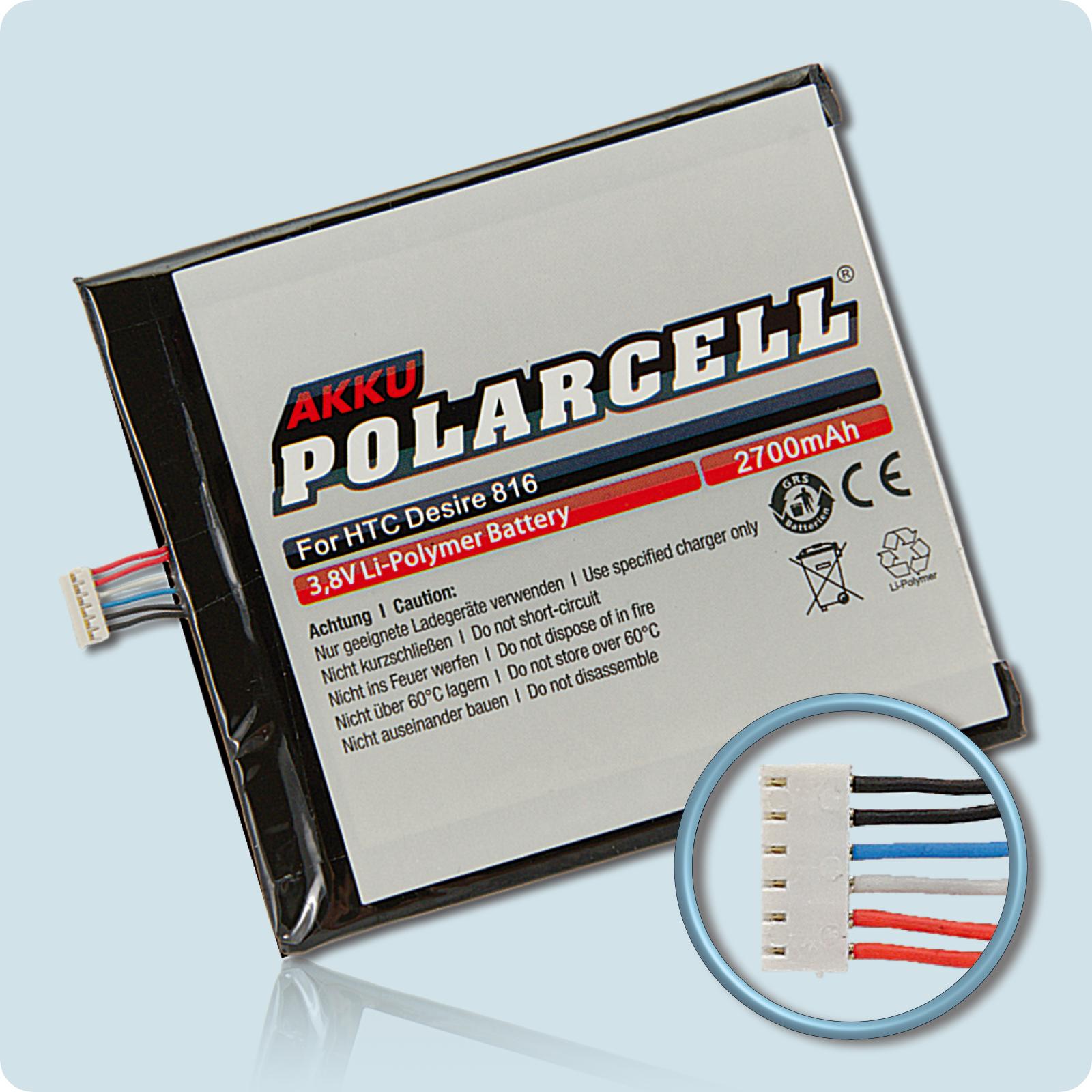 PolarCell® Hochleistungsakku für HTC Desire 816, ersetzt Originalakku B0P9C100