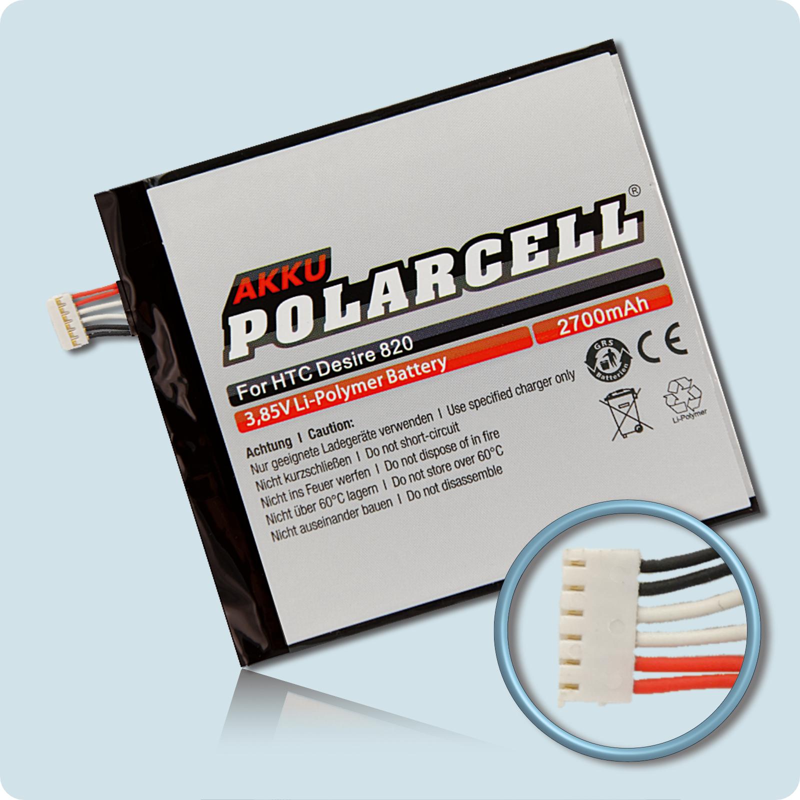 PolarCell® Hochleistungsakku für HTC Desire 820, ersetzt Originalakku B0PF6100