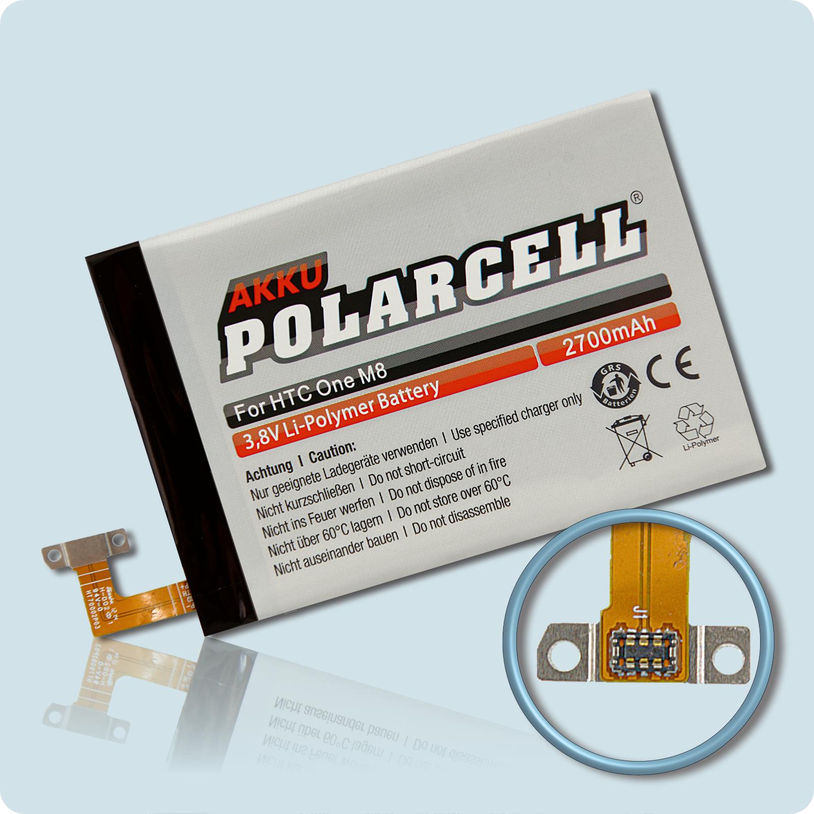 PolarCell® Hochleistungsakku für HTC One M8, ersetzt Originalakku B0P6B100