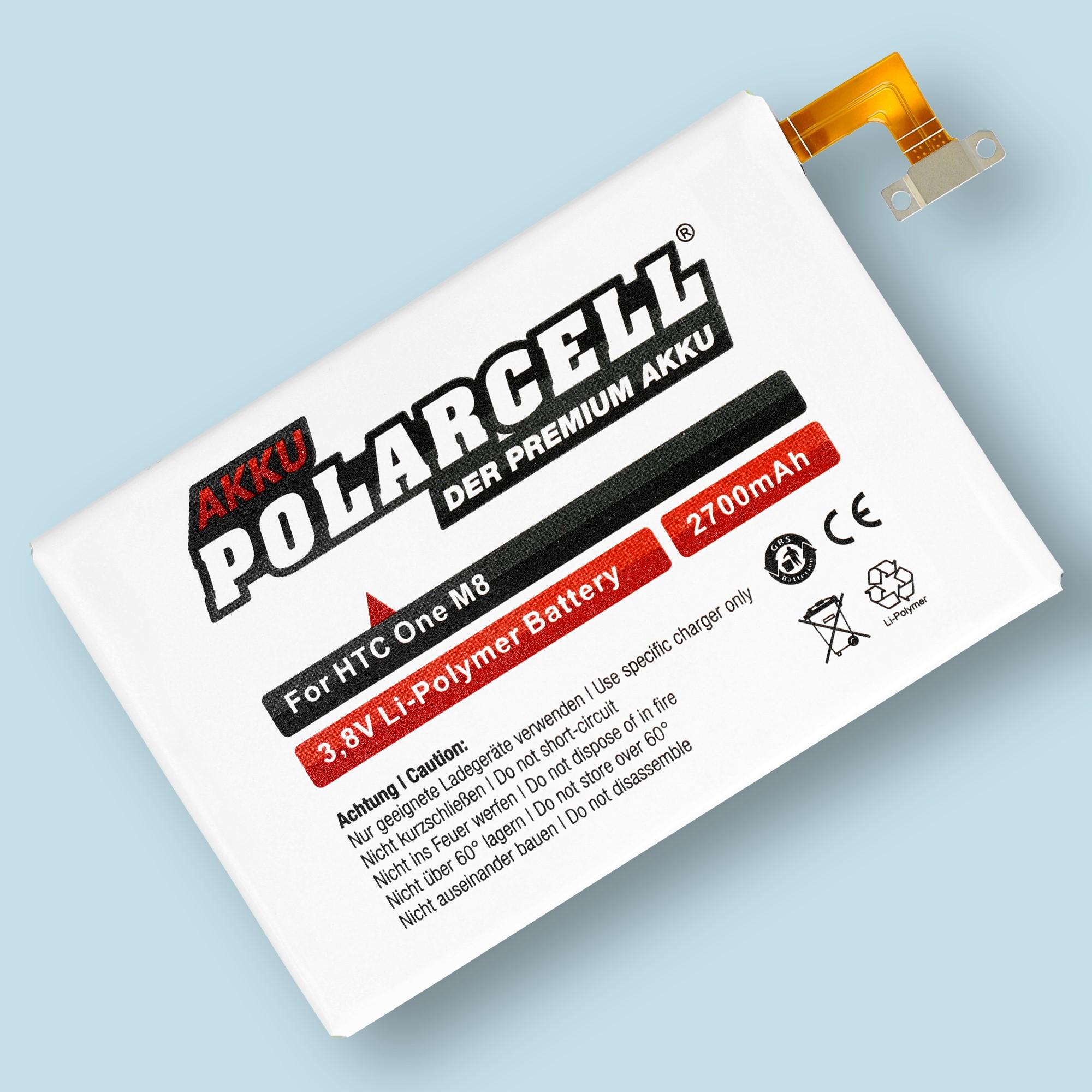 PolarCell® Hochleistungsakku für HTC One E8, ersetzt Originalakku B0P6B100