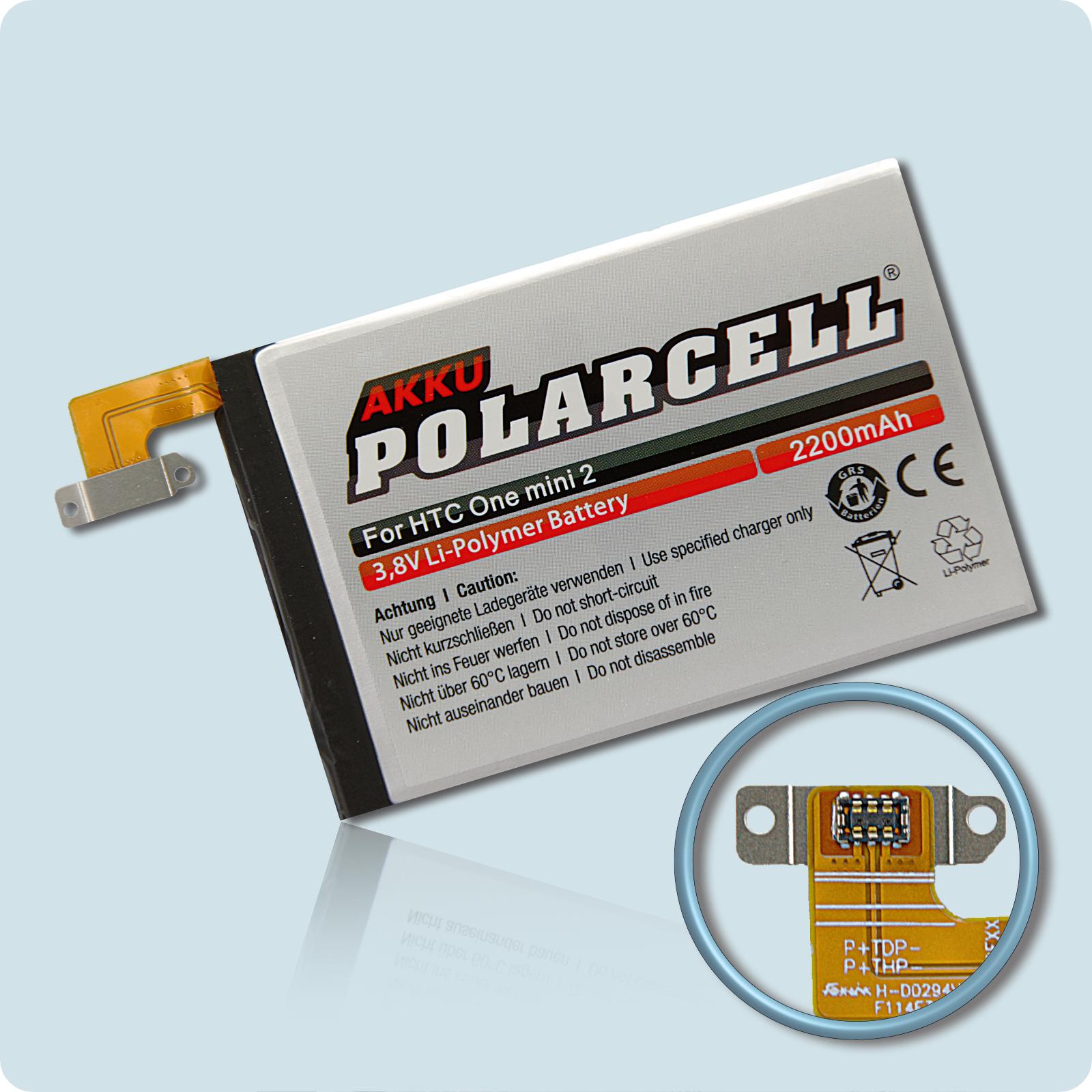 PolarCell® Hochleistungsakku für HTC One mini 2, ersetzt Originalakku B0P6M100